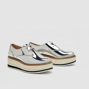 Zara silver platform Derby shoes 7.5